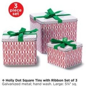 3/$10 NIB Avon Holly Dot 3 Square Tins with Lids